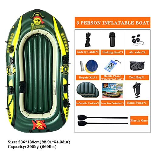 LANHA Inflatable Boat, 3 Person Thickened Kayak Canoe with Air Pump Rope Paddle Folding PVC Fishing Boat Inflatable Raft Rubber Boats for Adults Fishing and Kids Coast Outdoor