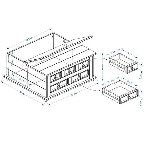 Mexico Möbel Truhentisch TEQUILA mit 5 Schubladen in weiß, 92x87x45cm - 2