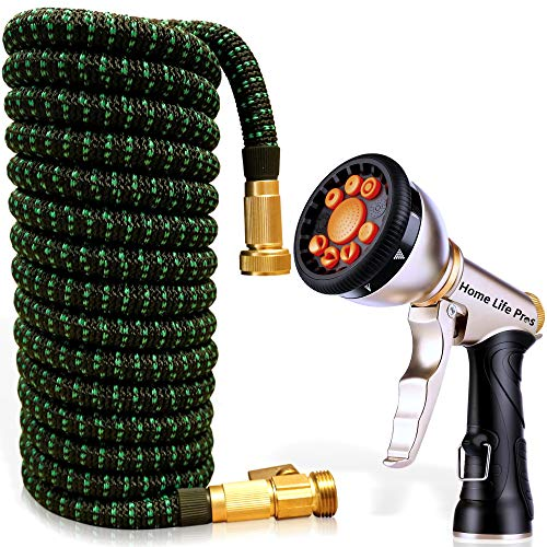 Expandable Garden Hose 50FT Heavy Duty No-Kink Compact Lightweight Waterhose Outdoor Lawn Shrinking Water Hose Expanding 50 FT Car Wash Collapsible Hose 3/4 Retractable Water Pipe Flexible Hoses