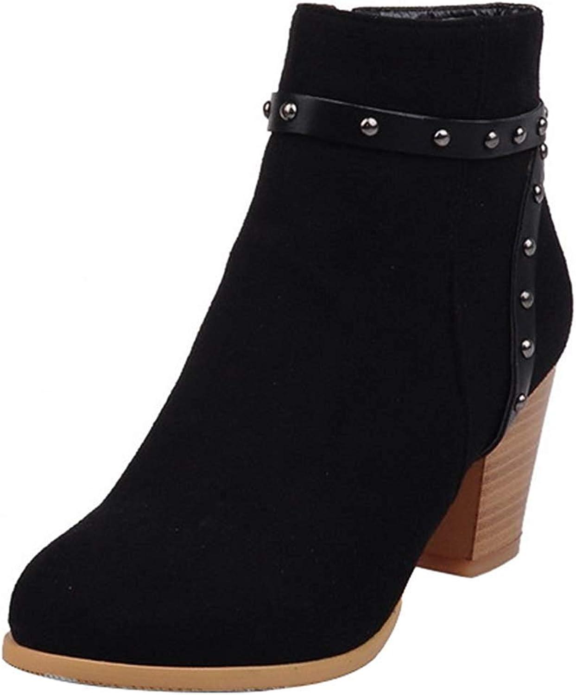 Lelehwhge Women's Studded Rivet Strap Round Toe Medium Block Heel Side Zipper Ankle Boots Black 7 M US
