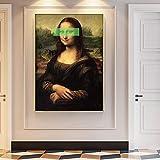 Hechuyue Da Vinci-Eye Cover Pop Peinture Toile Réplique Toile Murale Salon Décoration Peinture Peinture sans Cadre 40x60cm