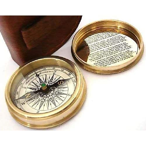 Maritime Frank Antique Nautical Brass Pocket Poem Compass 3 Inches