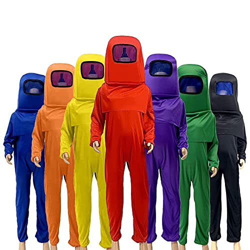 Astronaut Costume A-mong Jumpsuits Kids Boys Halloween Cosplay Christmas Party (Red, L)