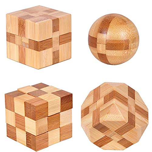 brain teaser games for adults 4 Pack Wooden Puzzle Games Brain Teasers Toy- 3D Puzzles for Teens and Adults - Wooden Logic Puzzle Wood Snake Cube Magic Cube Magic Ball Brain Teaser Intellectual Removing Assembling Toy