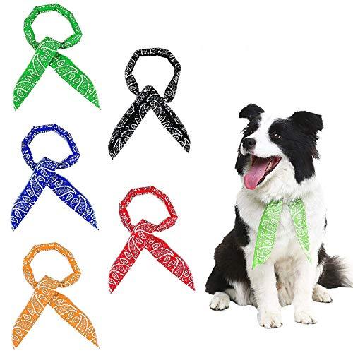 Scenereal Co. - Juego de 5 pañuelos de refrigeración para perros - Para refrescar durante el verano - Colores negro, rojo, azul, naranja y verde