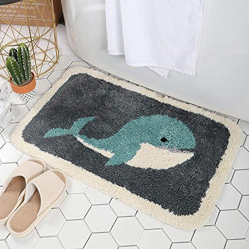 IcosaMro Bathroom Rugs Grey Whale Bath Rug for Bathroom Non-Slip Soft Absorbent Machine-Washable, Shower Bathroom Decor Bath Mat, 16x24 Inch, Grey