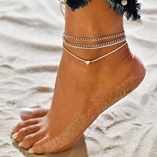 Jovono plata Boho Tobilleras Pulseras de tobillo de corazón de múltiples capas Joyas de moda con pie de playa y corazón para mujeres y niñas