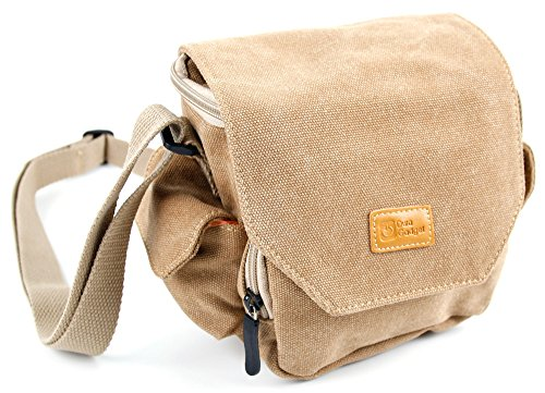 DURAGADGET Light Brown Medium Sized Canvas Carry Bag - Compatible with PowerLead Pcam PDC001 2.7 inch TFT LCD HD Mini Digital Camera