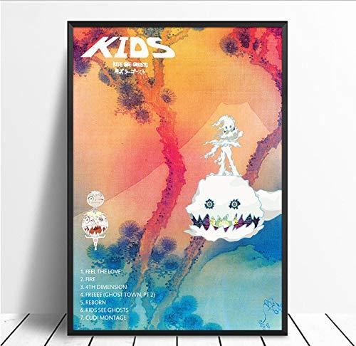 Kanye West, Kid Cudi - Kinder Sehen Geister Album Popmusik Cover Music Star Poster Leinwand Wandkunst Für Wohnzimmer Wohnkultur 40X60 cm Ohne Farme