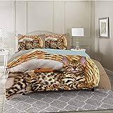 YUAZHOQI - Juego de funda de edredón de 3 piezas, diseño de gatos de Bengala en cesta, felino, microfibra lavada premium y 2 fundas de almohada, tamaño king