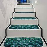 Awningcranks Treppenteppiche Selbstklebend Treppenlaufflächen Buntes Blumenmuster des Ölgemäldes 3D Treppenhaus Mat Rutschfester Teppich Hauptschlafzimmer-Tür-Frontdekoration 1016