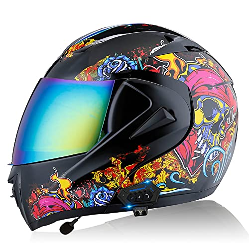 Casco de Motocicleta Integrado Bluetooth, Cascos Modulares de Moto de Visera Doble con Doble Visera para Hombres y Mujeres Adultos, Certificación ECE/DOT A,XL=61~62CM