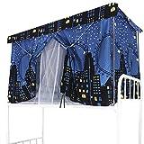Cortina opaca para cama, superposición, cortina de cama, antipolvo para dormitorio, cortinas de cabaña para cama elevada/media altura -3 Pcs, 1.5m