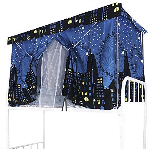Cortina opaca para cama, superposición, cortina de cama, antipolvo para dormitorio, cortinas de cabaña para cama elevada/media altura, mosquitera de tela- Ville-3 Pcs, 1,2 m