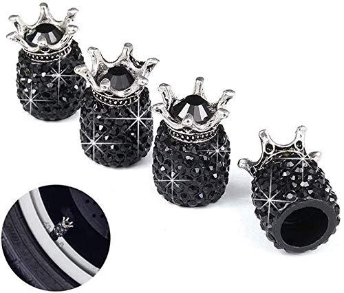 SAVORI Tapones de vástago de válvula de neumático, 4 Unidades, Hechos a Mano con Cristales de estrás Brillantes para Llantas de Coche