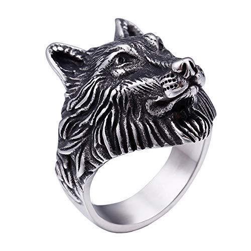 PAURO Men's Stainless Steel Silver Black Vintage Wolf Head Biker Ring Size 8