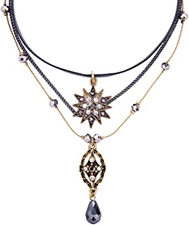 Exquisite Sequins Multilayer Pendant Necklace Multi-Layer Bar Pendant Necklace Long Choker Necklace for Women Lady Girl