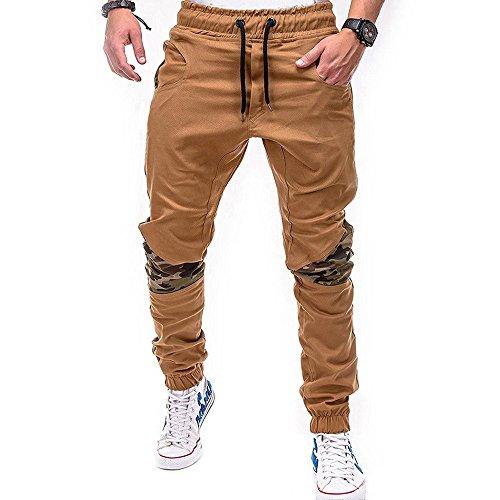 SoonerQuicker Cargobroek voor heren, met elastiek, camouflage, trekkoord, vrijetijdsbroek, onder, strak camouflage, joggingbroek, relaxed fit, broek met wijde been, losse pasvorm