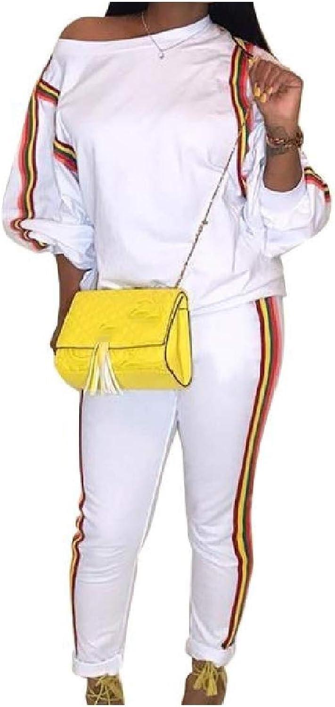 color&W Women's Fashion Rainbow Striped Long Sleeve Casual Sports Tops Sweatpants Set