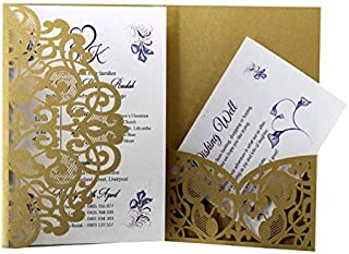 VANGOAL [25 PCS 7.1'' x 4.9'' Laser Cut Hollow Wedding Invitations Cards with Printable Paper and Envelopes for Wedding Marriage Bridal Shower Engagement Birthday Graduation Invite(Gold)