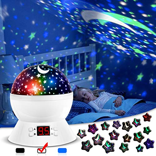 ANTEQI Star Projector Night Light for Kids Bedroom Decor with Timer, 3 Types Table Lamp Modes and 17 Starry Sky Color Freely, Best Birthday Gifts for 1-3-14 Year Old Girls, Boys, Baby Toys -White