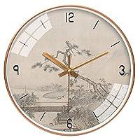 壁掛け時計10インチ25CM中国のウォールクロックリビングルームクリエイティブ近代クォーツ壁掛け時計ミュートアート時計 リビングルーム 部屋 オフィス 台所用 (Color : Type2)