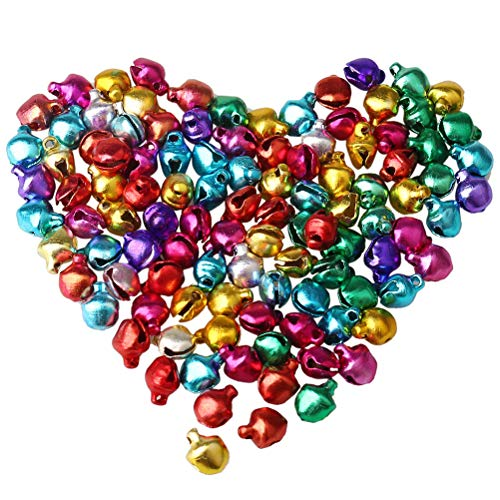 WenX 100 Pieces Jingle Bells, 6mm Small Colourful Bell Tinkle Bell for Christmas Decorating
