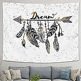 LOMOHOO Arrow Tapestry Vintage Feather Dream Tribal Aztec Style Boho Decor Art Bohemian Tapestry Wall Hanging Bedroom Dorm Living Room Blanket Decoration (XL:175x230cm/69'x90.5')