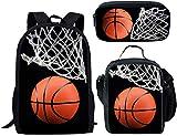 ELEQIN Lightweight Laptop Backpack Sport Basketball Ball Printed School Bookbag Lunch Bag Pencil Case for Boys Girls