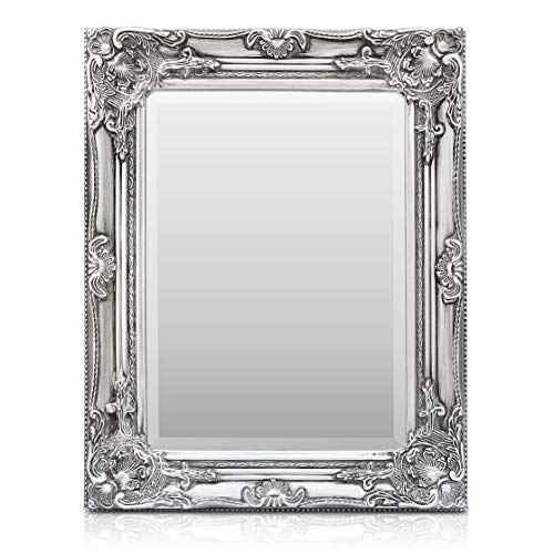 Rococo by Casa Chic - Grand Miroir Mural sur Pied - Style Baroque Shabby Chic - 130 x 45 cm - Argent