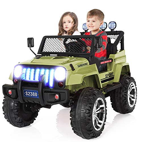 Kuntai Kids Electric Car, 2 Seater Battery Powered Car for Kids,Kids Ride on Car with Remote Control, LED Lights, MP3 Player, Safety Belt, Spring Suspension, Dual Drive Green