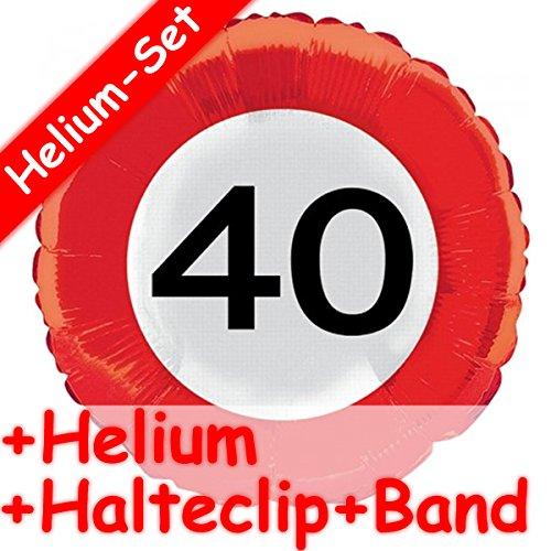 Folieballon, ZAHL 40, wegverkeersinformatie, helium vulling, houclip en band, voor verjaardag, folies ballon party, helium, decoratie, ballongas, motto 40 veertig jaar felicitatie