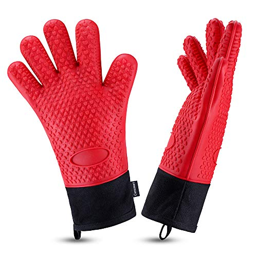 Oven Gloves Heat Resistant Cooking Gloves Silicone Grilling Gloves Long Waterproof BBQ Kitchen Oven Mitts with Inner Cotton Layer for Barbecue Cooking Baking Red