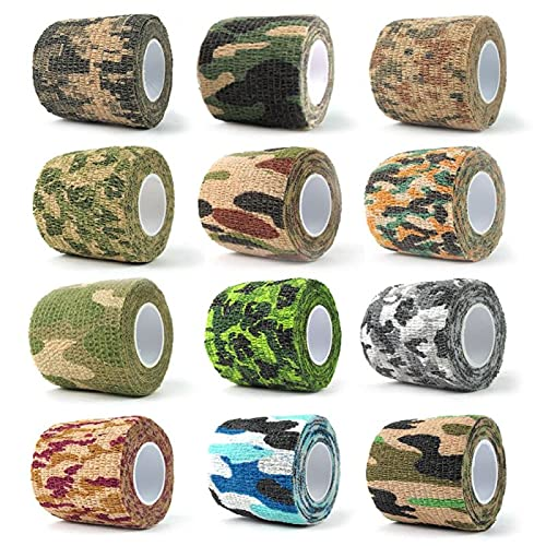Kohäsive Bandage, 12 Rollen elastische Klebebinde Camouflage Klebeband für Jagd Camouflage Reiten Fahrrad Aufkleber