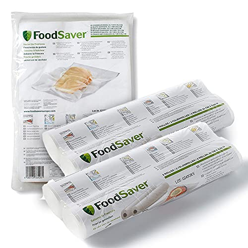 FoodSaver Juego de 4 rollos de 28 cm x 5,5 m y 48 bolsas de 20 x 29 cm, termosellables, sin BPA, para máquina de envasado al vacío de alimentos