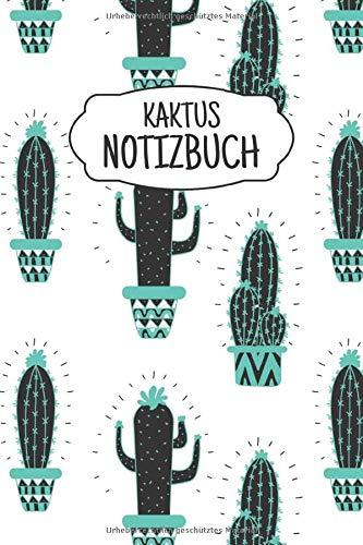 Kaktus Notizbuch: Liniertes Notizbuch ca A5 für Notizen, Skizzen, Zeichnungen, als Kalender, Tagebuch oder Geschenk; breites Linienraster; Motiv: Kaktus Muster Kakteen Aquarell