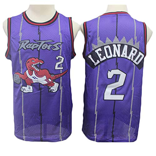 Camisetas de Baloncesto para Hombres, Raptors de la NBA # 2 Kawhi Leonard Classic T-Shirt, Vestido de Manga Resistente al Desgaste Transpirable Bordado,1,XL