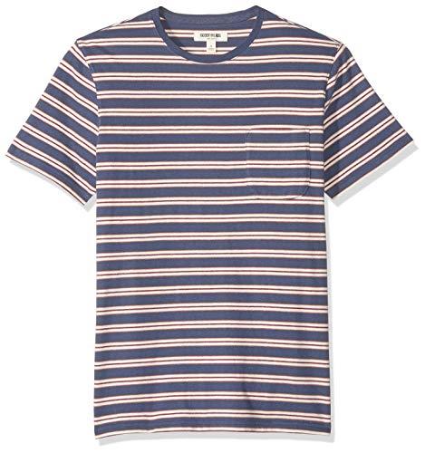 Marca Amazon - Goodthreads - Camiseta de manga corta y cuello redondo de punto de gamuza con bolsillo para hombre, Denim Retro Stripe, US M Tall (EU M)