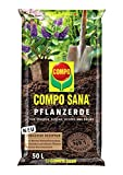 Compo SANA Pflanzerde mit 10 Wochen Dünger für alle Stauden, Büschen, Hecken und Bäume, Kultursubstrat, 50 Liter, braun