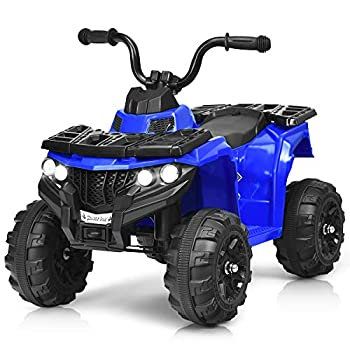 HONEY JOY Ride On ATV 4-Wheels Quad Off-Road Vehicle for Kids Skid-Resistant Tires for Sand Driving Headlights Music 6V Battery Operated Ride On Toy Car for Baby Girl Boy  Blue