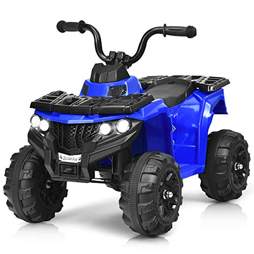 HONEY JOY Ride On ATV, 4-Wheels Quad Off-Road Vehicle for Kids, Skid-Resistant Tires for Sand Driving, Headlights, Music, 6V Battery Operated Ride On Toy Car for Baby Girl Boy (Blue)