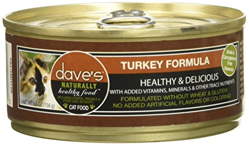 Dave's Pet Food Naturally Healthy Cat Food, Turkey Formula CASE, Brown, 5.5 oz Can (Case of 24)