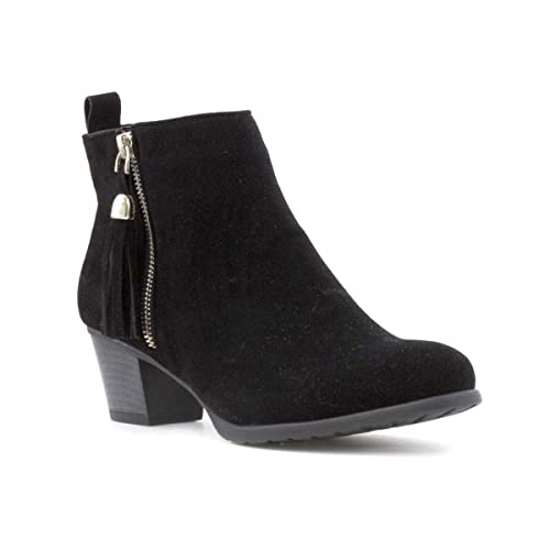 f83a19e6e10 Lilley Womens Black Faux Suede Heeled Ankle Boot