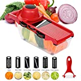 6 in 1 Mandoline Slicer, Multi-Function Fruit and Veg Cutter, Interchangeable Stainless Steel Blade with Food Container, Peeler, Hand Protector, Julienne Slice for Potato Tomato Onion Vegetable