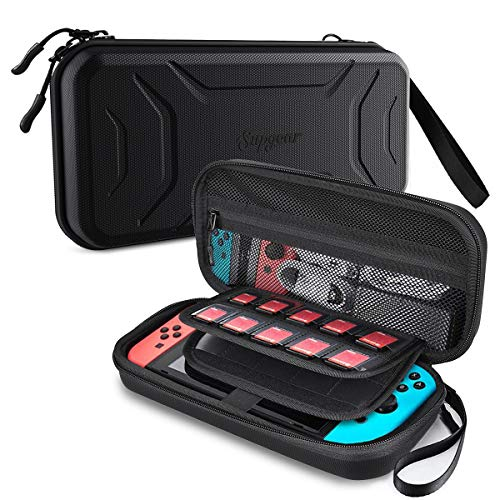 Supgear Case for Nintendo Switch, Protective Hard Shell Travel Carrying Case Pouch for Nintendo Switch Console & Accessories with 20 Game Cartridges