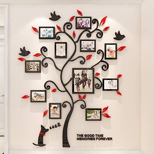 Encoft 3D Pegatina de Árbol Vinilos Hojas Negros 132 * 160 cm con 11 pcs Marcos de Foto Adhesivo Decorativo de Pared para Dormitorio Hogar Oficina (XL, negro rojo)