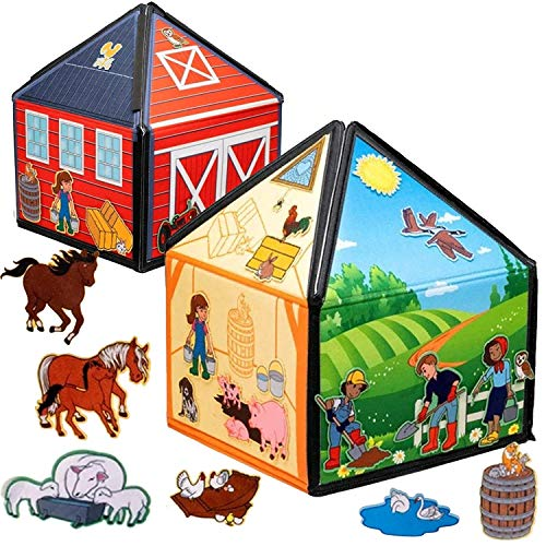 My Little Farm Interactive 1.25 Ft Tall Felt Playhouse and Board for Early Language and Vocabulary Development with 32 Matching Pieces