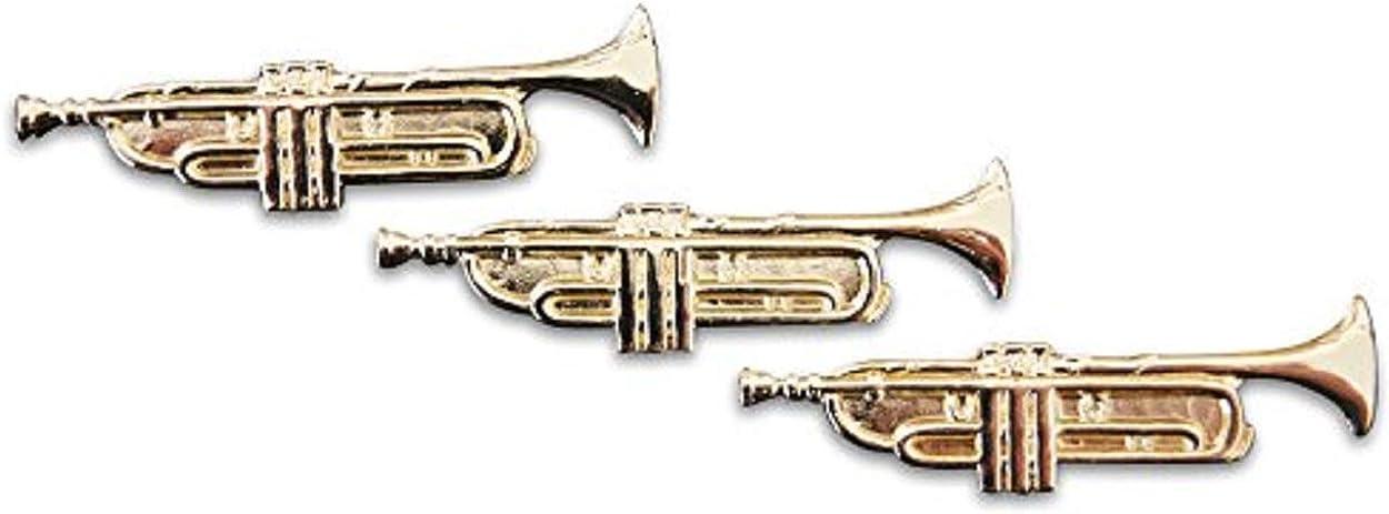 Novel Merk 3-Piece Brass Trumpet Musician Lapel or Hat Pin & Tie Tack Set with Clutch Back