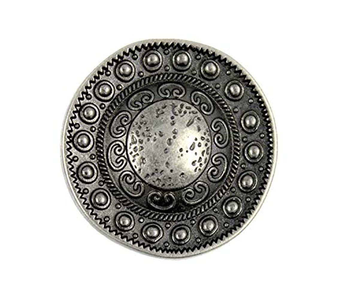 Bezelry 10 Pieces Beads Around The Dome Metal Shank Buttons. 23mm (7/8 inch) (Gray Silver)