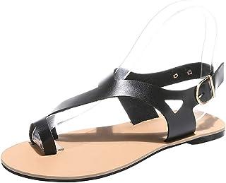 Women's Summer Flat Sandals, Bohemian Toe Sandals Summer Shoes PU Leather Elastic Beach Shoes Flip Flops Shoes Outdoor Shoes Beach Shoes